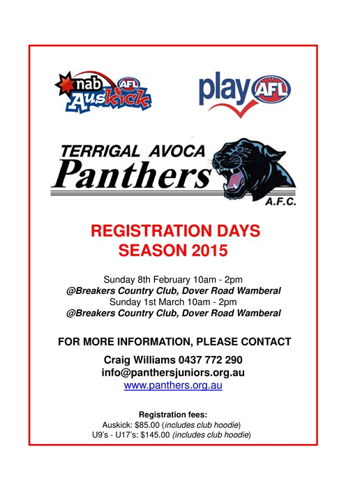TAAFC General Rego Flyer - Season 2015